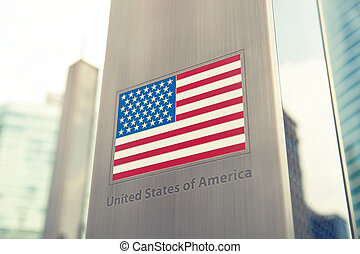 Series of national flags on pole - USA - National flags on...
