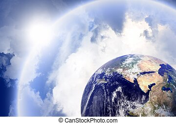 Planet with protective shield - Planet earth in space with...
