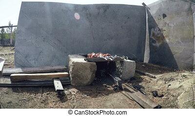 Shashlyk Meat on charcoal.