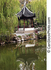 Ancient Chinese Pagoda Reflection Green Willows Garden of...