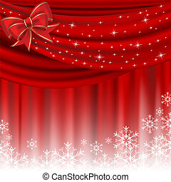 Christmas background with red curtain and bow