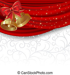 Christmas background with red curtain and gold bell