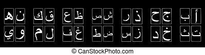 Arabic Alphabet in Groups on Black