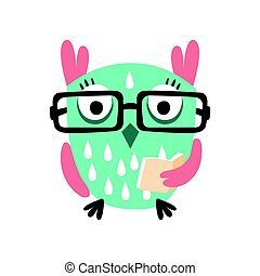 Cartoon owl bird in eyeglasses holding a book colorful character vector Illustration