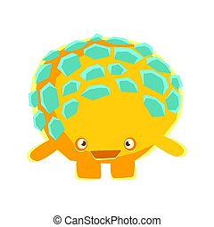 Cute yellow mossy stone with embarrassed face. Cartoon...