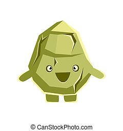 Cute smiling rock element. Cartoon emotions character vector Illustration