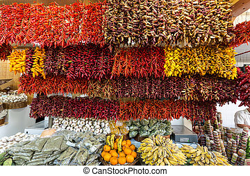 Red chili pepper (piri-piri) on famous market in Funchal...