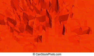 Abstract waving red low poly surface as beautiful background...