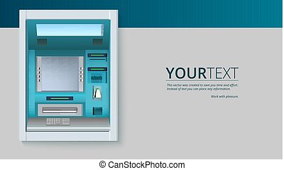 Bank Cash Machine. ATM - Automated teller machine with blank screen and carefully drawn details on white backdrop. Template for flyers, cover, presentation or poster