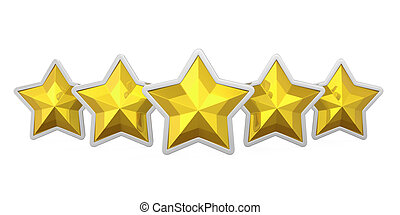 Five Golden Stars Isolated