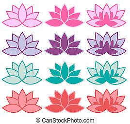 lotus flower - lotus symbols in different colour...