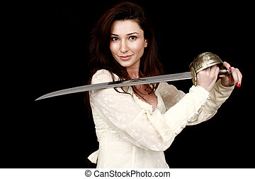 Woman wielding sabre - Beautiful woman wielding a sabre