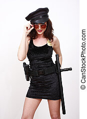 Sexy police officer in black dress