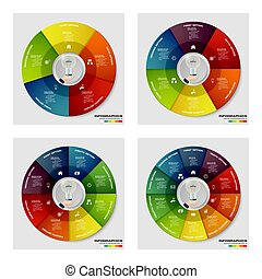 collection of 5,6,8,10 option pie chart. EPS10. for your...