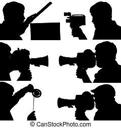 filme, silhuetas,  câmera,  6