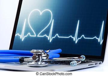 膝上型, 電腦, 聽診器, 測試,  cardiologic, 醫學, 軟件