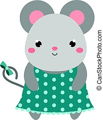 Cute mouse in polka dot dress. Children style, isolated design element, vector. Cartoon kawaii animal character