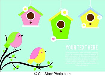 Cute Birds sitting on tree branches. Hanging Birdhouses. Vector banner, seasonal spring background