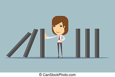 businesswoman stopping the domino effect with falling...