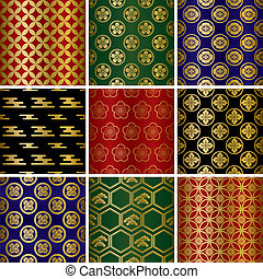 Japanese traditional patterns set Illustration vector