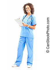 nurse - Smiling medical nurse with stethoscope Isolated over...