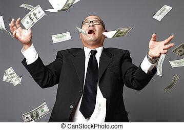 Raining money - Raining US hundred dollar bills on...