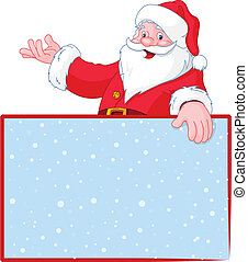 Christmas Santa Claus over blank greeting place card with...
