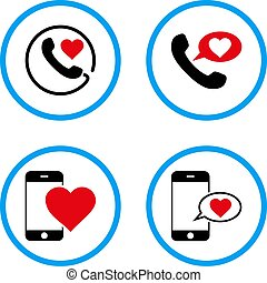 Love Phone Message Rounded Vector Icons