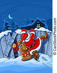 santa claus with sack climbs over big fence - christmas...