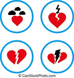 Broken Heart Rounded Vector Icons