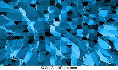 Blue low poly transforming surface as fractal background. Blue polygonal geometric transforming environment or pulsating background in cartoon low poly popular modern stylish 3D design.
