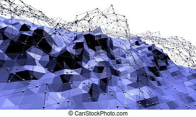 Blue low poly transforming surface as crystal mesh. Blue...