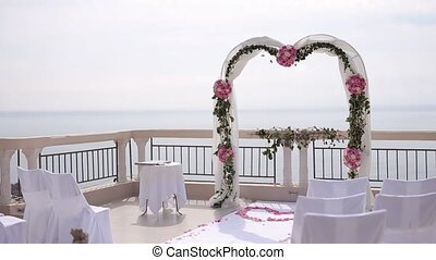 The wedding ceremony overlooking the island of Sveti Stefan...