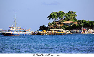 Cameo Island and Agios Sostis port in Zakynthos island,...
