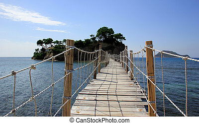 A bridge to the Cameo island in Zakynthos island, Greece