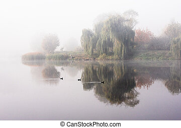 Morning mist over the lake with reflection in the water. Fog on a river