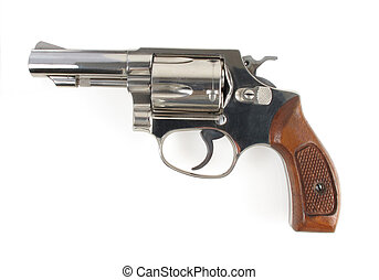 Smith and Wesson - Close up profile view of a stainless...