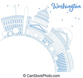 Outline Washington DC Skyline with Blue Buildings and Copy...