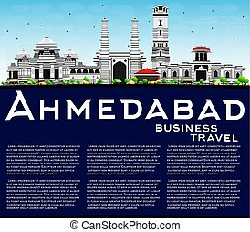 Ahmedabad Skyline with Gray Buildings, Blue Sky and Copy...