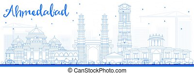 Outline Ahmedabad Skyline with Blue Buildings. Vector...