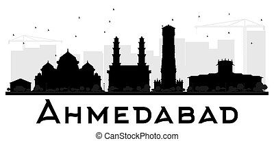 Ahmedabad City skyline black and white silhouette. Vector...