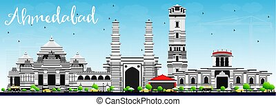 Ahmedabad Skyline with Gray Buildings and Blue Sky. Vector...
