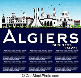 Algiers Skyline with Gray Buildings, Blue Sky and Copy Space.