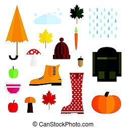 Set of Autumn Elements Isolated on White Background.