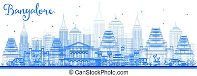 Outline Bangalore Skyline with Blue Buildings. Vector...
