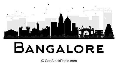 Bangalore City skyline black and white silhouette. Vector...