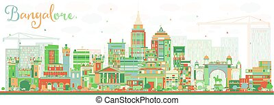 Abstract Bangalore Skyline with Color Buildings. Vector...