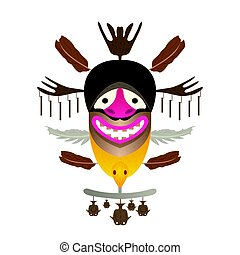 Tribal Mask with feather and fish. Vector illustration.