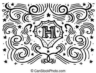 Hand drawn monogram template with letter H.