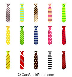 Set of Ties Isolated on White Background.